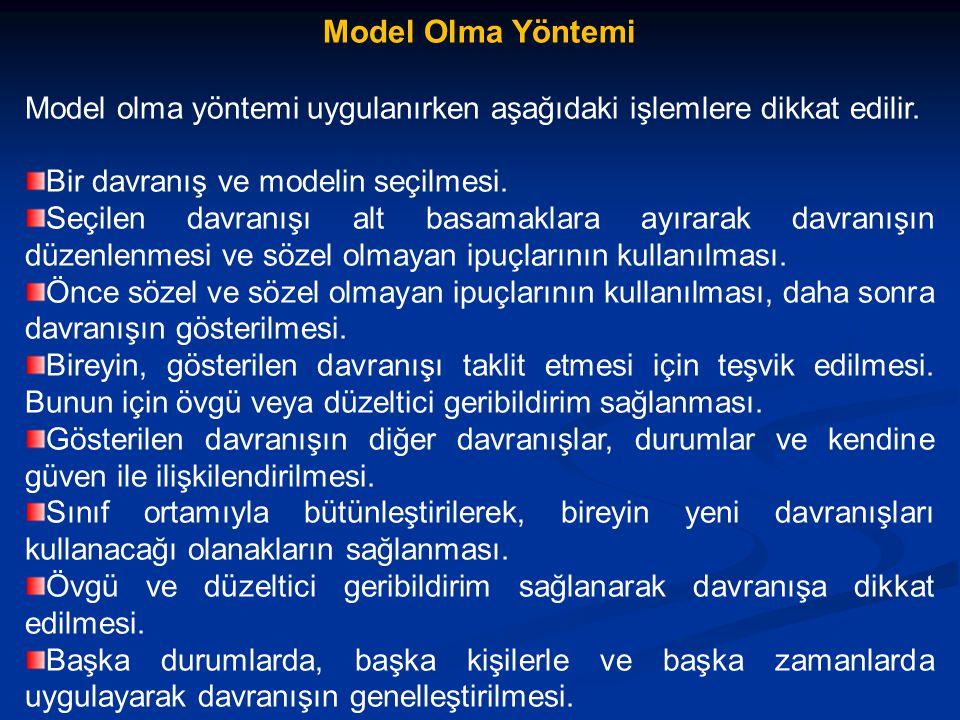 Model Olma Yöntemi Model olma yöntemi uygulanırken aşağıdaki işlemlere dikkat edilir. Bir davranış ve modelin seçilmesi.