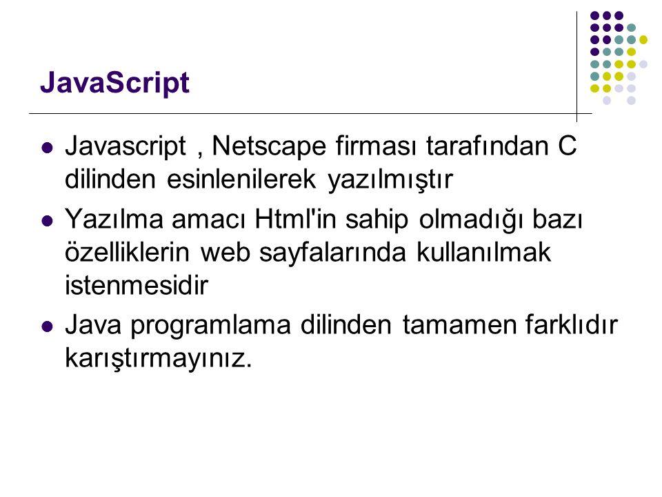 JavaScript Javascript , Netscape firması tarafından C dilinden esinlenilerek yazılmıştır.