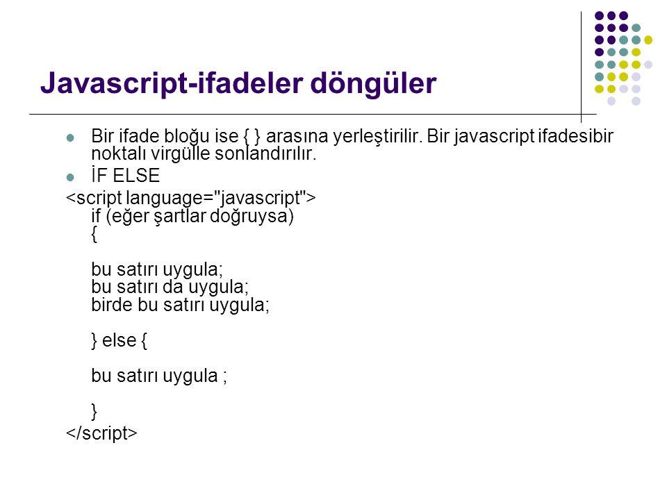 Javascript-ifadeler döngüler