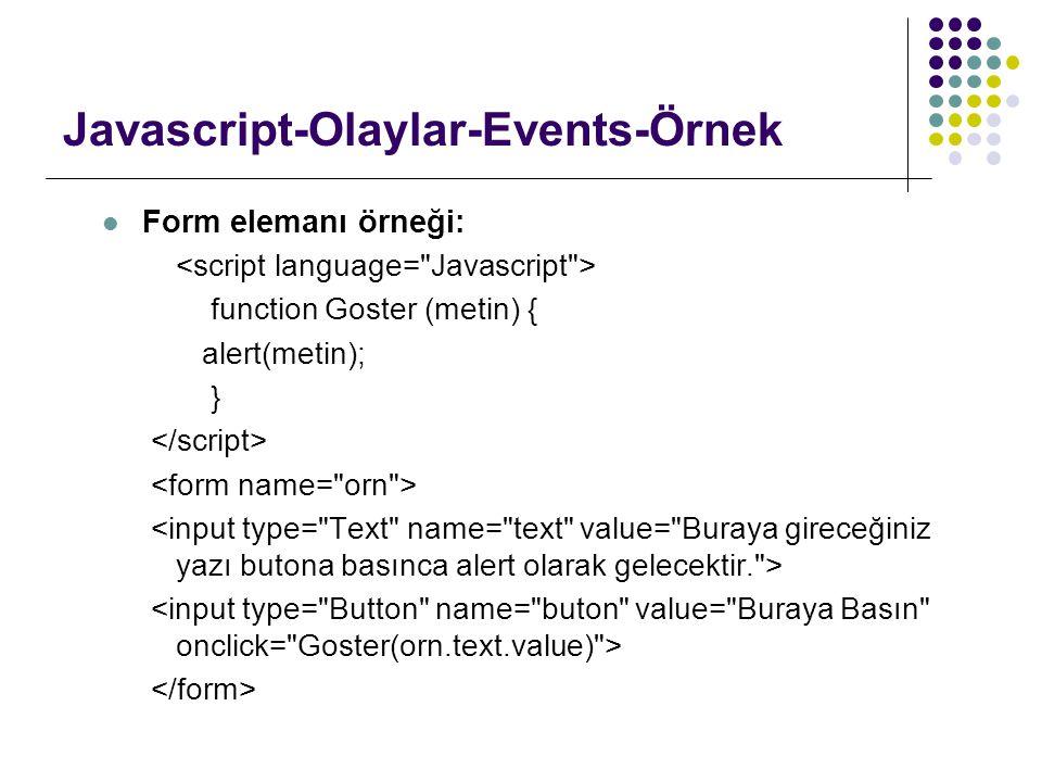 Javascript-Olaylar-Events-Örnek