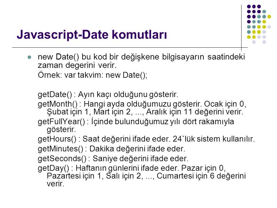 Javascript-Date komutları