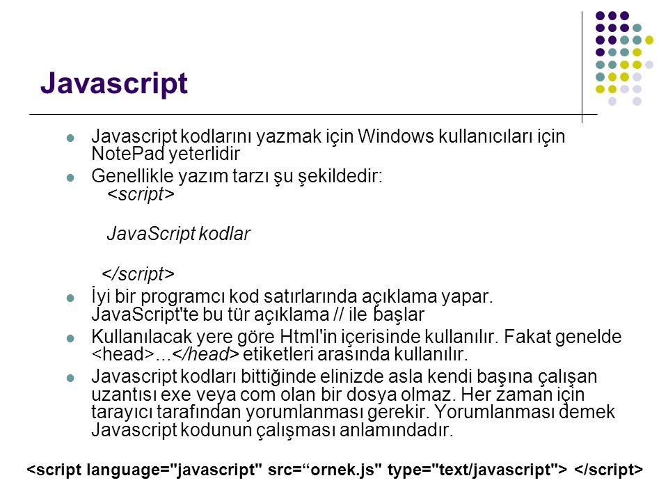 Javascript Javascript kodlarını yazmak için Windows kullanıcıları için NotePad yeterlidir. Genellikle yazım tarzı şu şekildedir: <script>