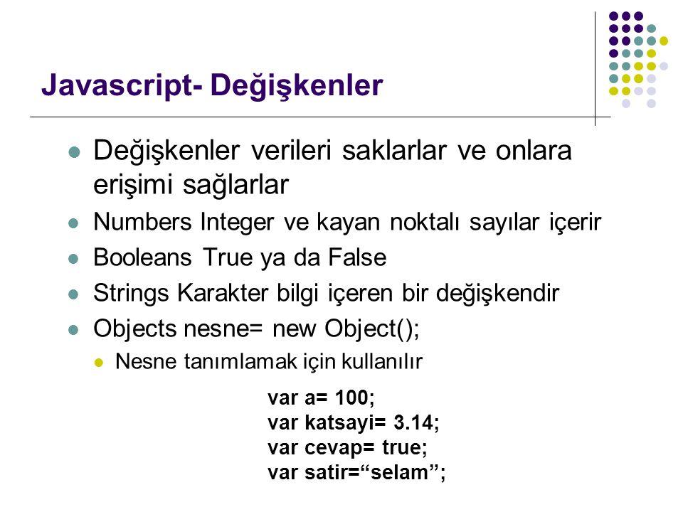 Javascript- Değişkenler