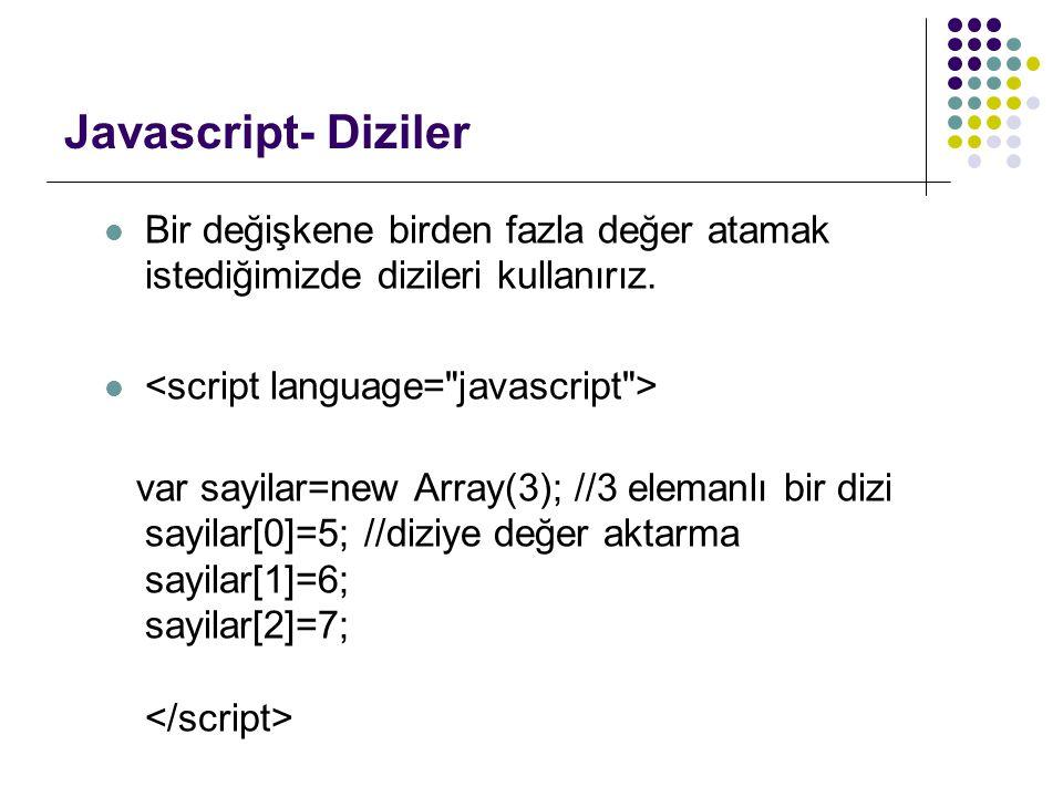 Javascript- Diziler Bir değişkene birden fazla değer atamak istediğimizde dizileri kullanırız. <script language= javascript >