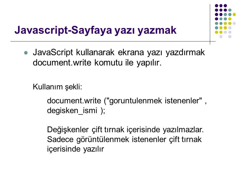 Javascript-Sayfaya yazı yazmak