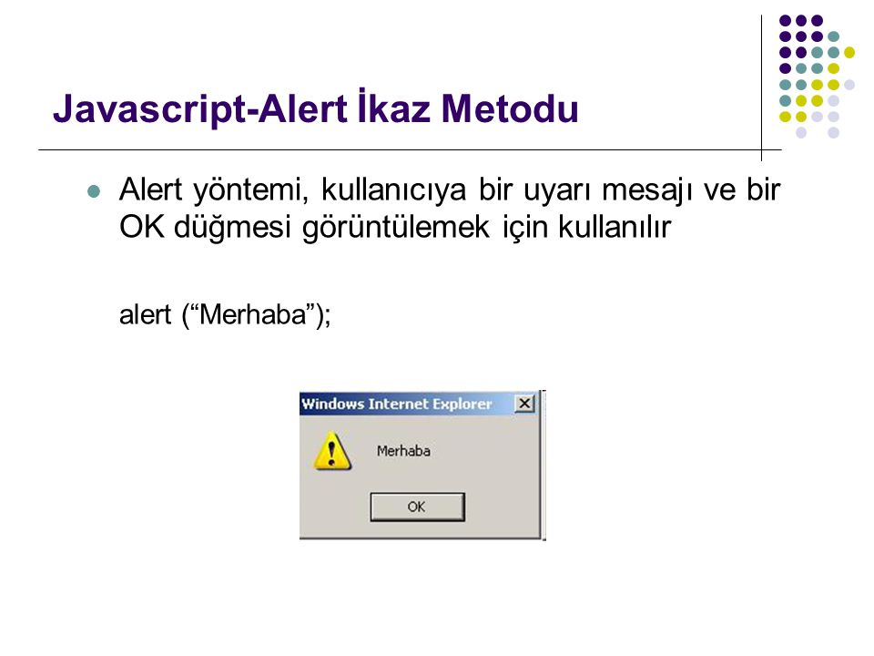 Javascript-Alert İkaz Metodu