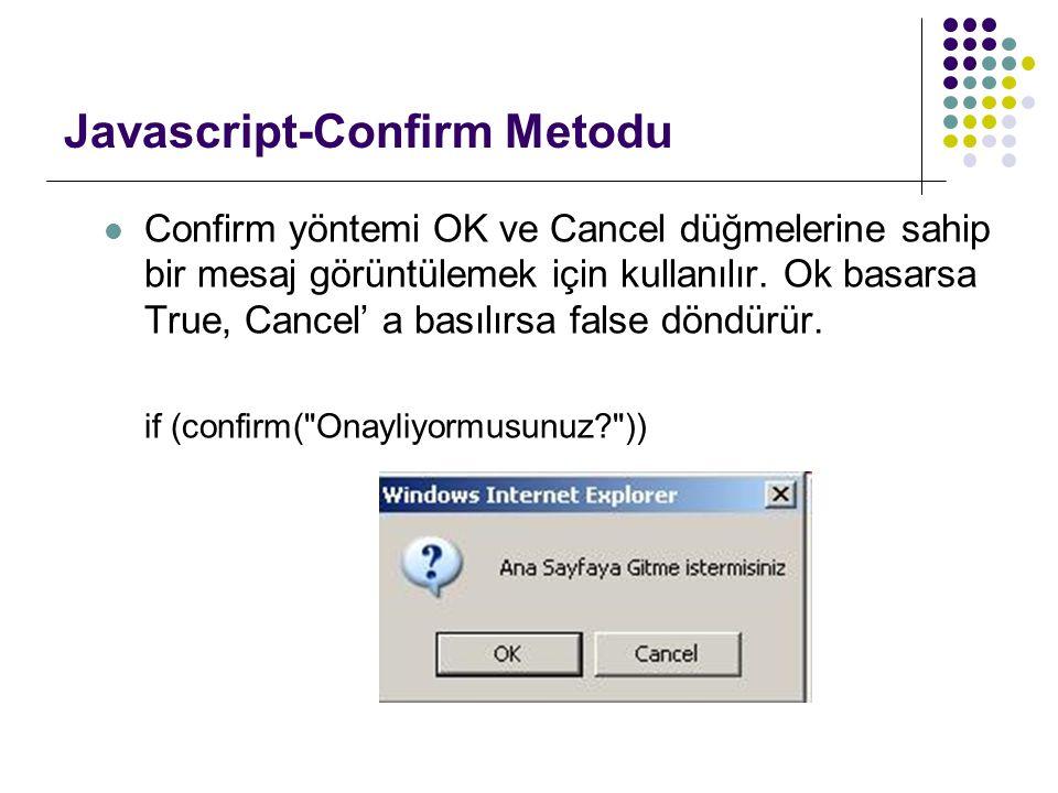 Javascript-Confirm Metodu
