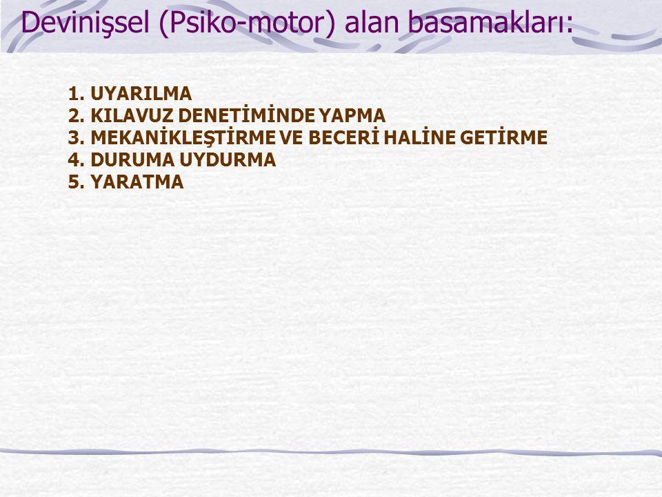 Devinişsel (Psiko-motor) alan basamakları: