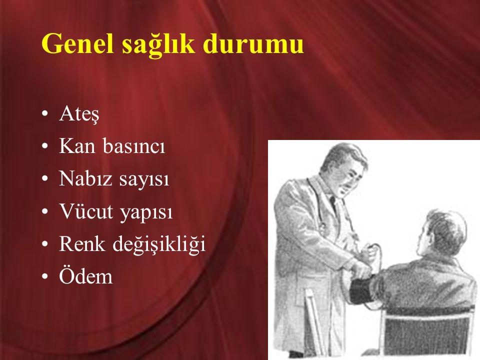 Genel sağlık durumu Ateş Kan basıncı Nabız sayısı Vücut yapısı