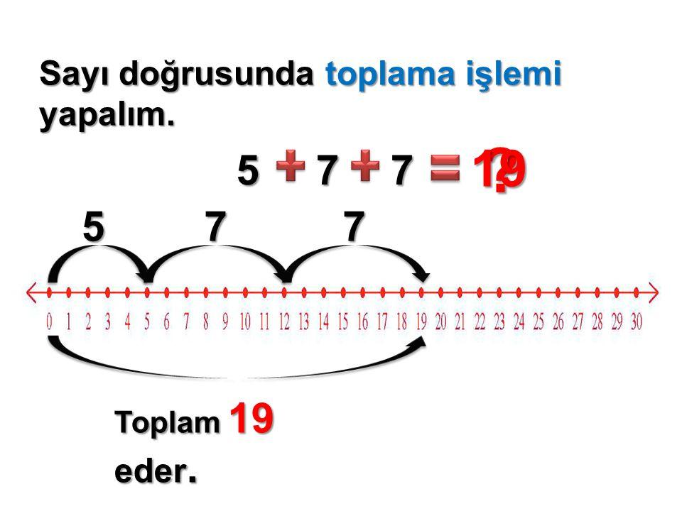 19 5 7 7 5 7 7 Sayı doğrusunda toplama işlemi yapalım.