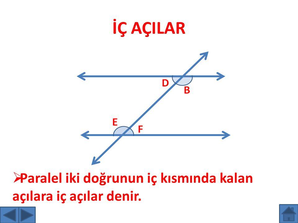 İÇ AÇILAR Paralel iki doğrunun iç kısmında kalan açılara iç açılar denir.