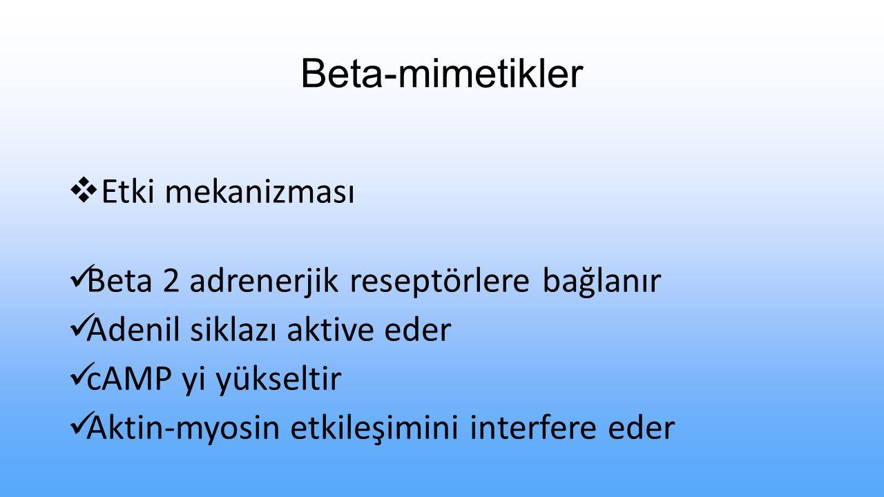 Beta-mimetikler Etki mekanizması
