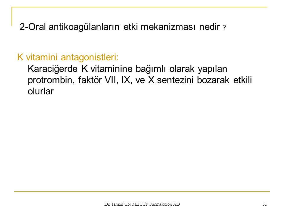 2-Oral antikoagülanların etki mekanizması nedir