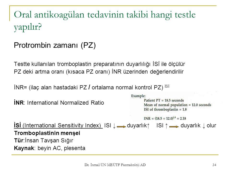 Oral antikoagülan tedavinin takibi hangi testle yapılır