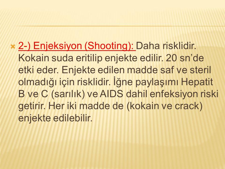 2-) Enjeksiyon (Shooting): Daha risklidir