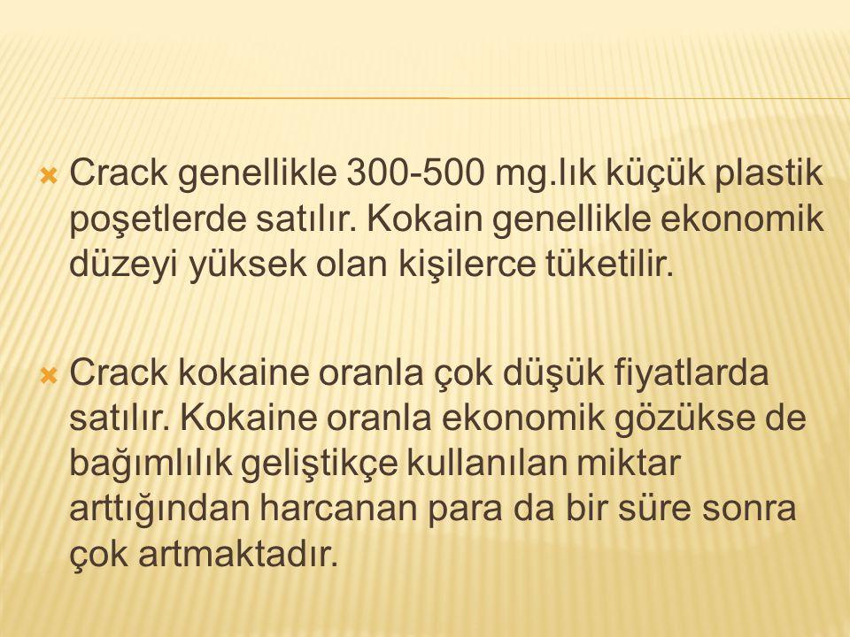 Crack genellikle 300-500 mg. lık küçük plastik poşetlerde satılır