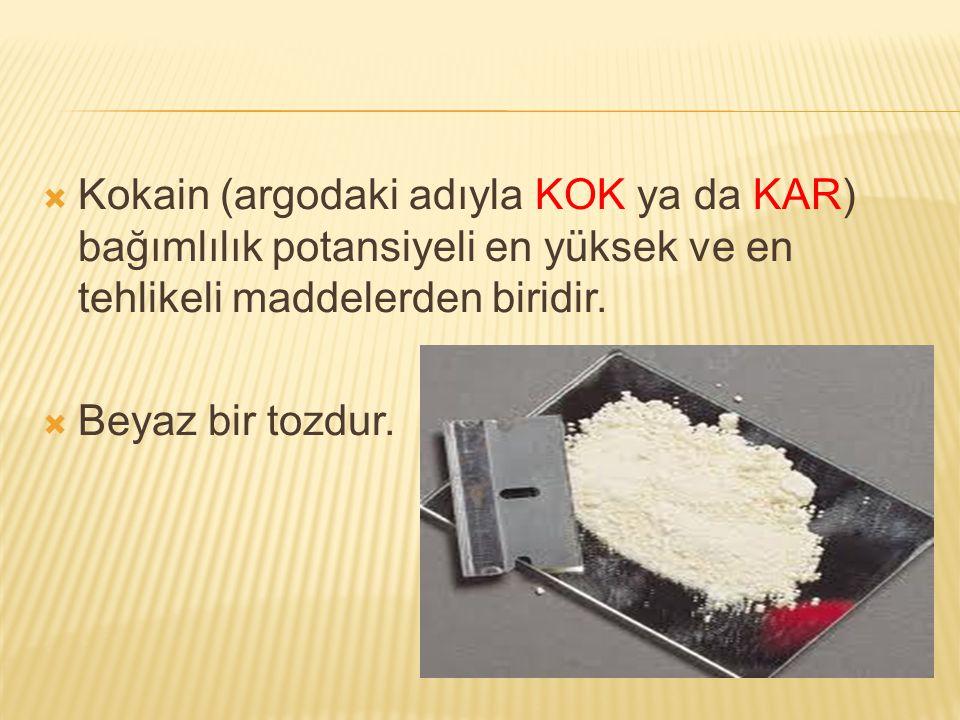 Kokain (argodaki adıyla KOK ya da KAR) bağımlılık potansiyeli en yüksek ve en tehlikeli maddelerden biridir.