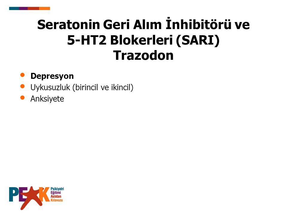 Seratonin Geri Alım İnhibitörü ve 5-HT2 Blokerleri (SARI) Trazodon