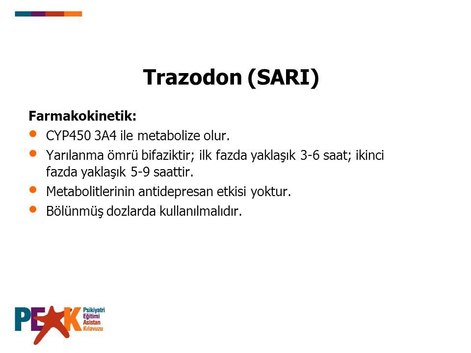 Trazodon (SARI) Farmakokinetik: CYP450 3A4 ile metabolize olur.