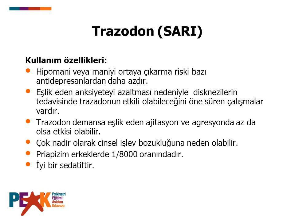 Trazodon (SARI) Kullanım özellikleri:
