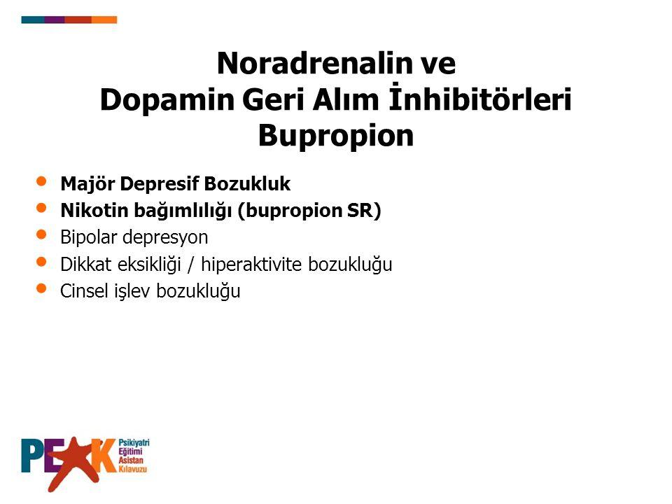 Noradrenalin ve Dopamin Geri Alım İnhibitörleri Bupropion