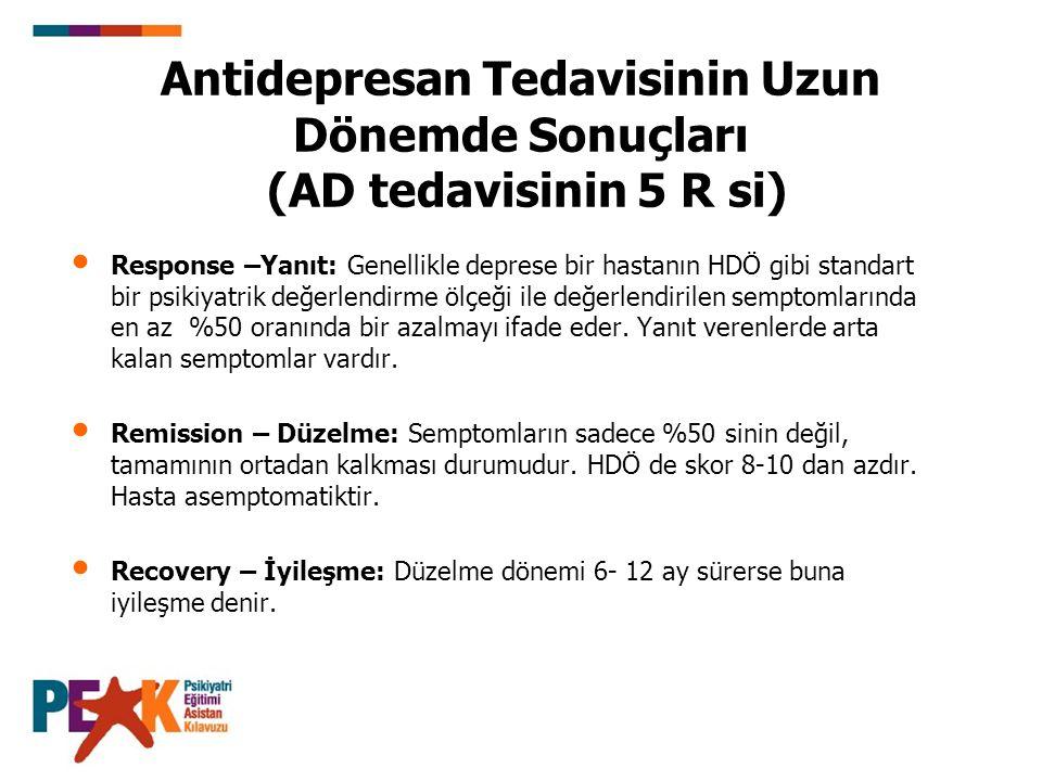 Antidepresan Tedavisinin Uzun Dönemde Sonuçları (AD tedavisinin 5 R si)