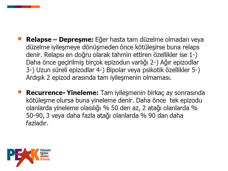 Relapse – Depreşme: Eğer hasta tam düzelme olmadan veya düzelme iyileşmeye dönüşmeden önce kötüleşirse buna relaps denir. Relapsı en doğru olarak tahmin ettiren özellikler ise 1-) Daha önce geçirilmiş birçok epizodun varlığı 2-) Ağır epizodlar