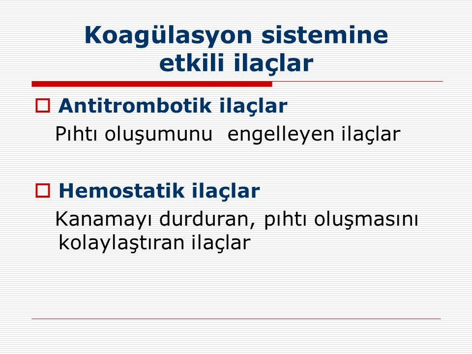 Koagülasyon sistemine etkili ilaçlar