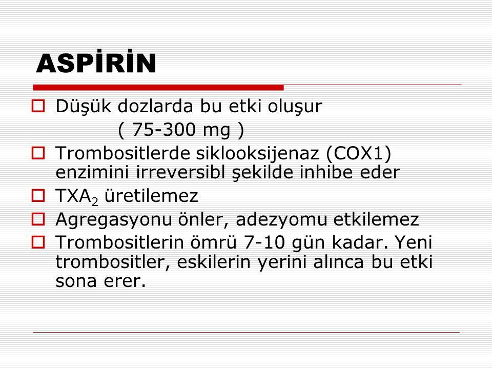 ASPİRİN Düşük dozlarda bu etki oluşur ( 75-300 mg )