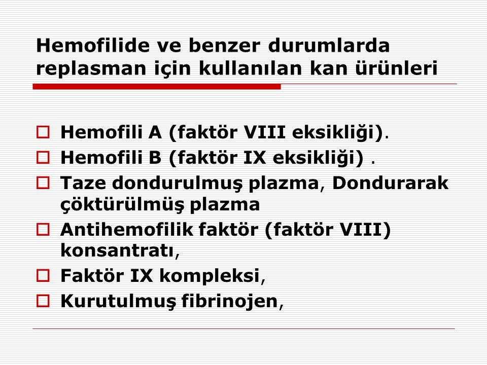 Hemofilide ve benzer durumlarda replasman için kullanılan kan ürünleri