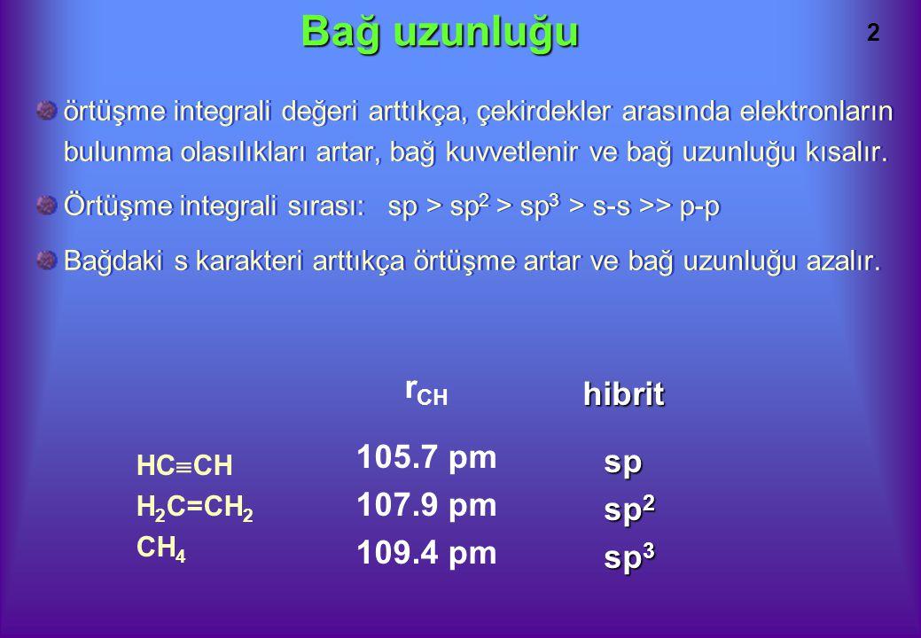 Bağ uzunluğu rCH hibrit 105.7 pm 107.9 pm sp 109.4 pm sp2 sp3