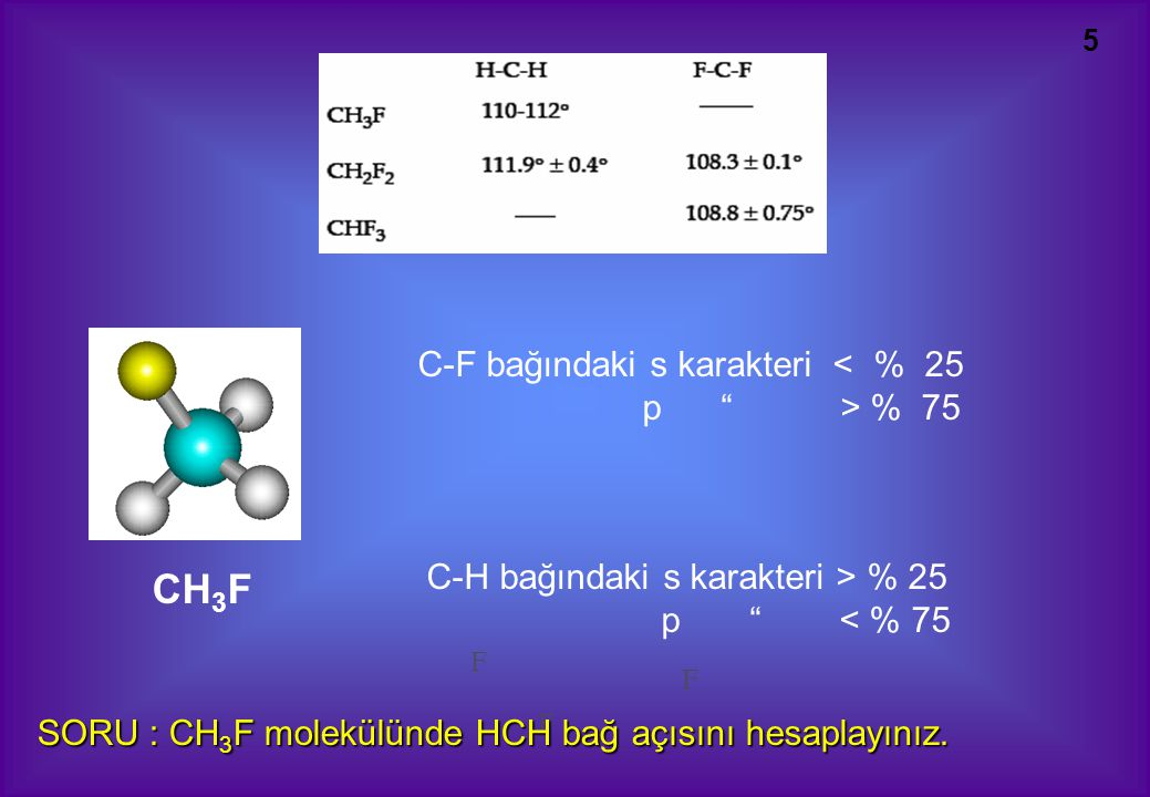CH3F C-F bağındaki s karakteri < % 25 p > % 75