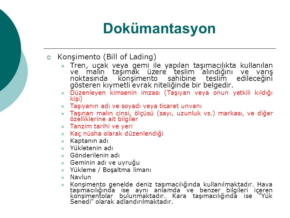 Dokümantasyon Konşimento (Bill of Lading)
