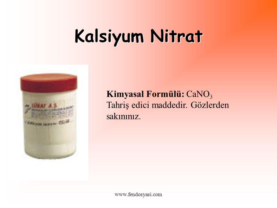 Kalsiyum Nitrat Kimyasal Formülü: CaNO3 Tahriş edici maddedir.