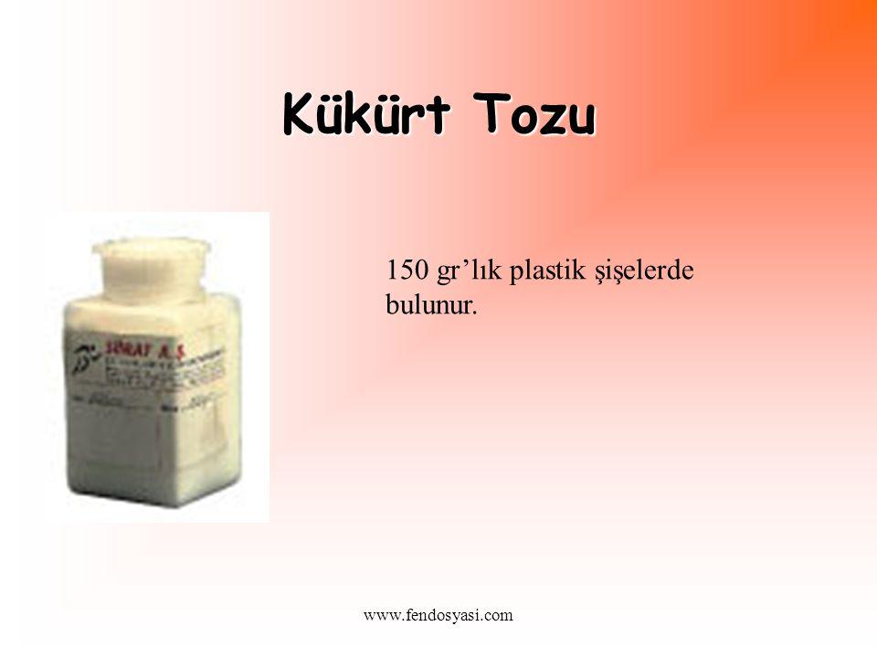 Kükürt Tozu 150 gr'lık plastik şişelerde bulunur. www.fendosyasi.com