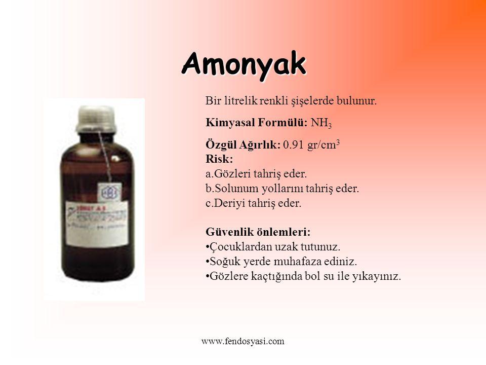 Amonyak Bir litrelik renkli şişelerde bulunur. Kimyasal Formülü: NH3