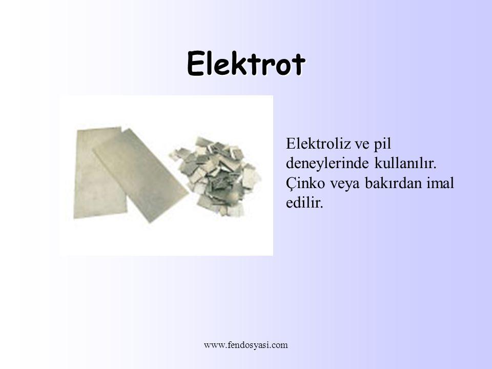 Elektrot Elektroliz ve pil deneylerinde kullanılır.