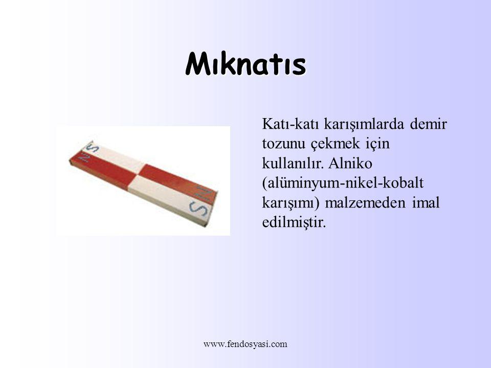 Mıknatıs Katı-katı karışımlarda demir tozunu çekmek için kullanılır. Alniko (alüminyum-nikel-kobalt karışımı) malzemeden imal edilmiştir.
