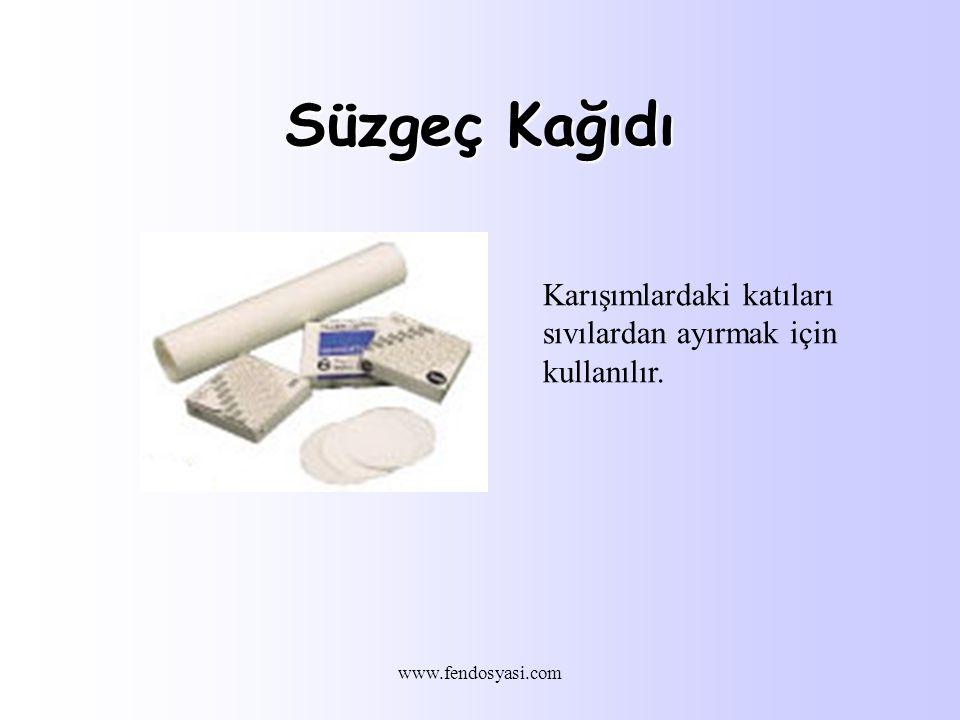 Süzgeç Kağıdı Karışımlardaki katıları sıvılardan ayırmak için kullanılır. www.fendosyasi.com