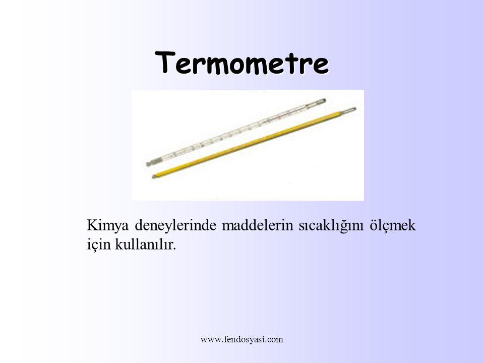 Termometre Kimya deneylerinde maddelerin sıcaklığını ölçmek için kullanılır. www.fendosyasi.com