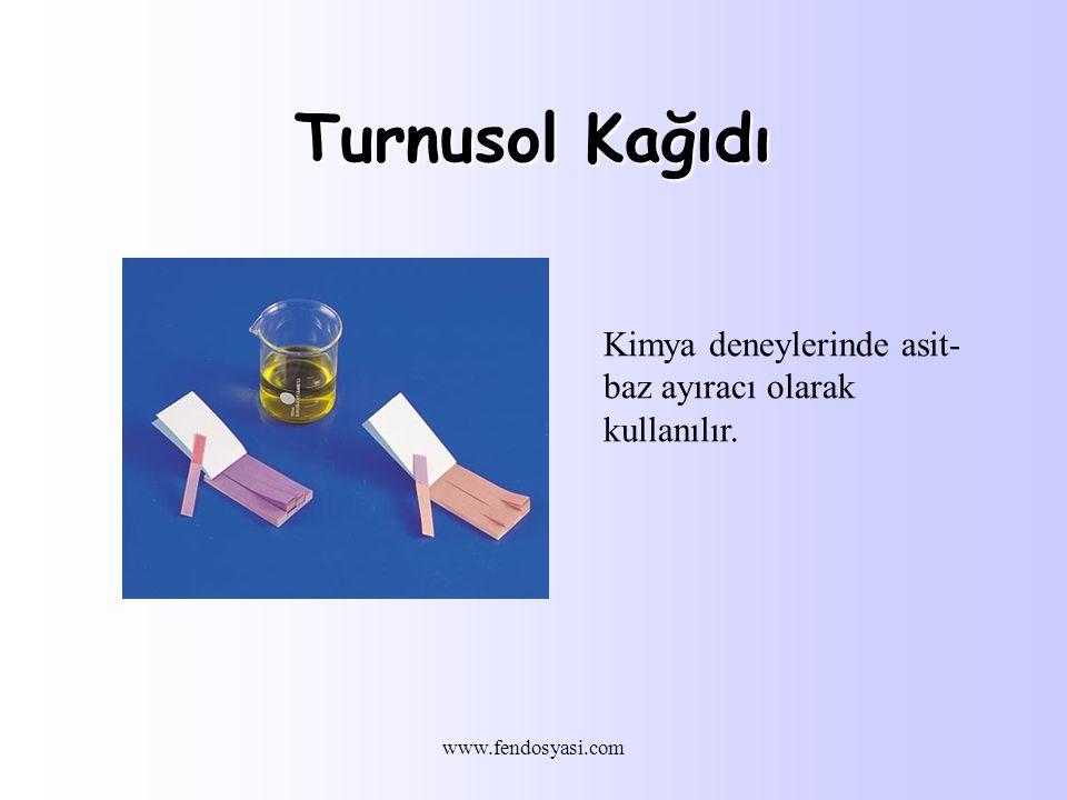 Turnusol Kağıdı Kimya deneylerinde asit-baz ayıracı olarak kullanılır.