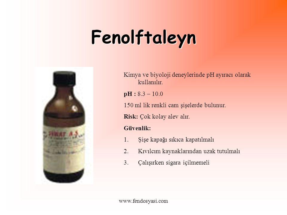 Fenolftaleyn Kimya ve biyoloji deneylerinde pH ayıracı olarak kullanılır. pH : 8.3 – 10.0. 150 ml lik renkli cam şişelerde bulunur.
