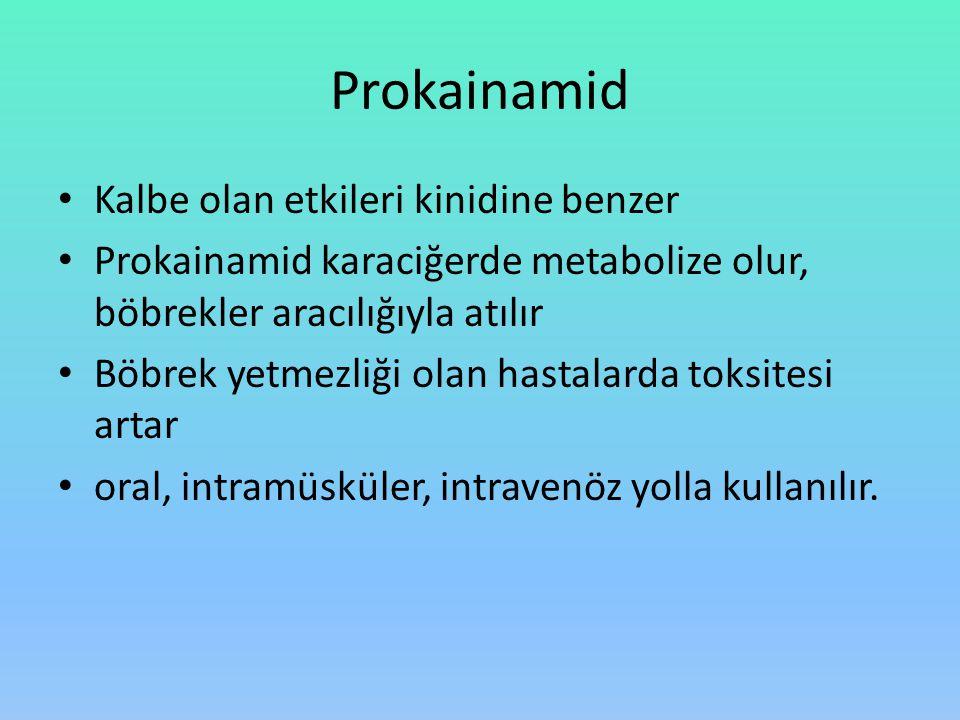 Prokainamid Kalbe olan etkileri kinidine benzer