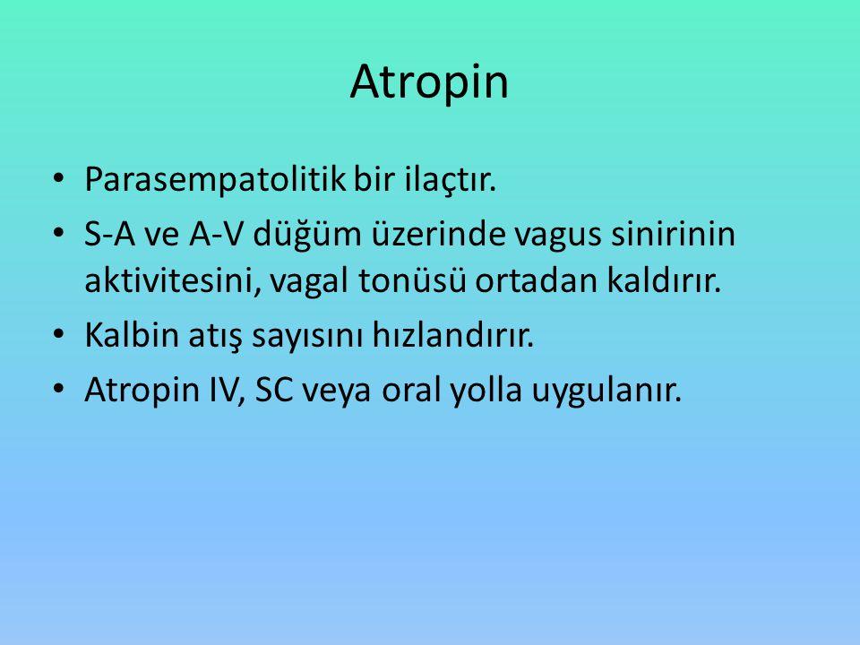 Atropin Parasempatolitik bir ilaçtır.