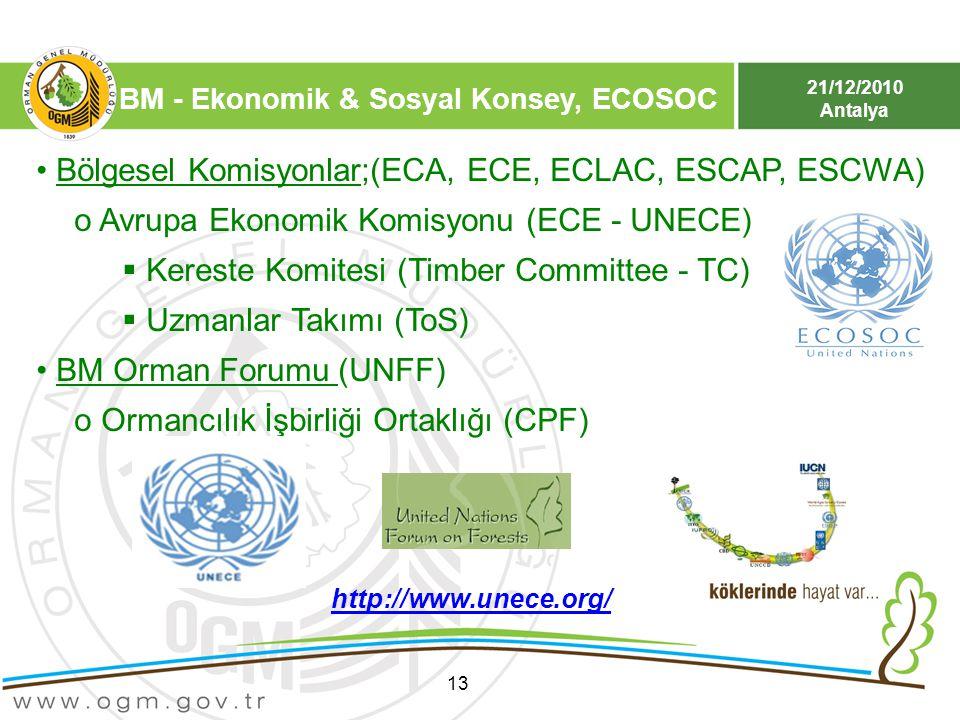 Bölgesel Komisyonlar;(ECA, ECE, ECLAC, ESCAP, ESCWA)