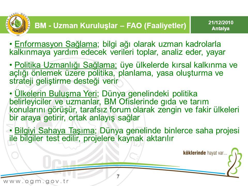 BM - Uzman Kuruluşlar – FAO (Faaliyetler)