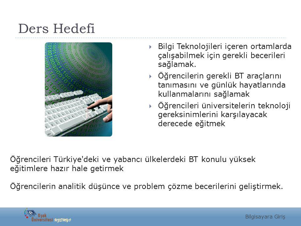 Ders Hedefi Bilgi Teknolojileri içeren ortamlarda çalışabilmek için gerekli becerileri sağlamak.
