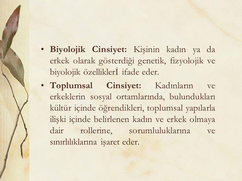 31.10.2011 Biyolojik Cinsiyet: Kişinin kadın ya da erkek olarak gösterdiği genetik, fizyolojik ve biyolojik özelliklerİ ifade eder.