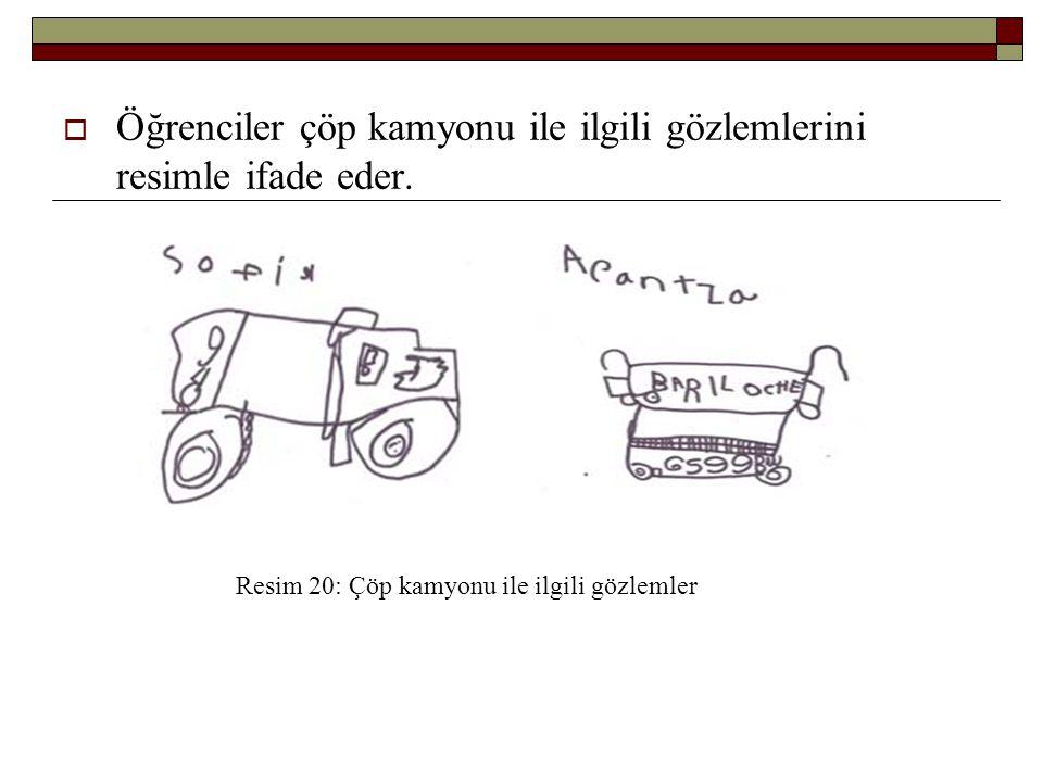 Öğrenciler çöp kamyonu ile ilgili gözlemlerini resimle ifade eder.