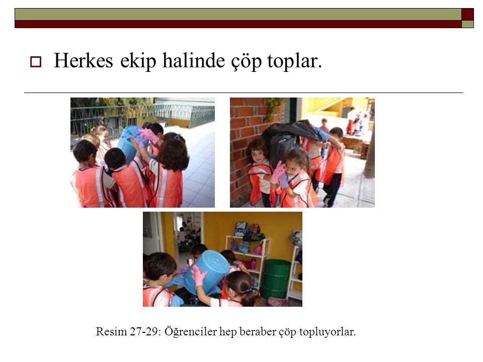 Resim 27-29: Öğrenciler hep beraber çöp topluyorlar.